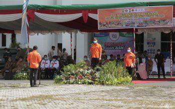 Pejabat Sementara (Pjs) Bupati Ogan Komering Ulu Muhammad Zaki Aslam, S,IP, M.Si Memimpin Pelaksanaan Apel Kesiapan Bencana Banjir, Tanah Longsor dan Angin Puting Beliung Kab. OKU Th. 2020/2021, (Senin, 09/11/2020)