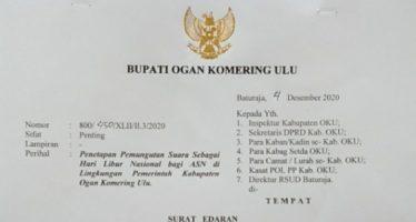 Surat Edaran Penetapan Pemungutan Suara Sebagai Hari Libur Nasional bagi ASN di Lingkungan Pemerintah Kabupaten Ogan Komering Ulu