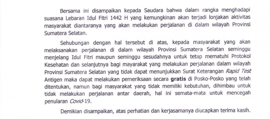 Surat Edaran Gubernur Sumatera Selatan Tentang Perjalanan Lalu Lintas Dalam Rangka Menghadapi Hari Raya Idul Fitri 1442H